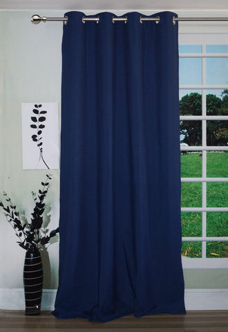 "Lushomes Navy Blue Water Repellent Frankfurt Matty Door Curtain with 8 metal eyelets & tie back (Size: 52"" x 90"", Single pc) - Lushomes"