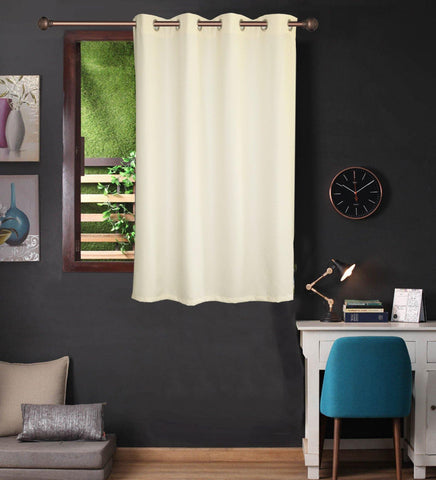 Lushomes Cream Water Repellent Frankfurt Matty Curtain with 8 metal eyelets & tie back for Window (Single pc pack) - Lushomes