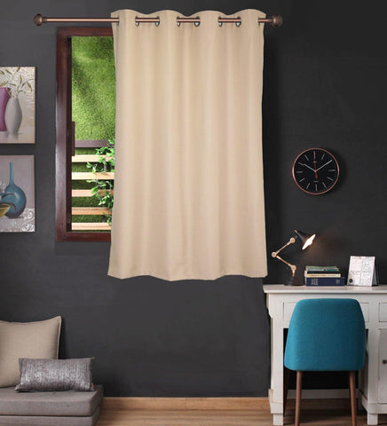 Lushomes Beige Water Repellent Frankfurt Matty Curtain with 8 metal eyelets & tie back for Window (Single pc pack) - Lushomes