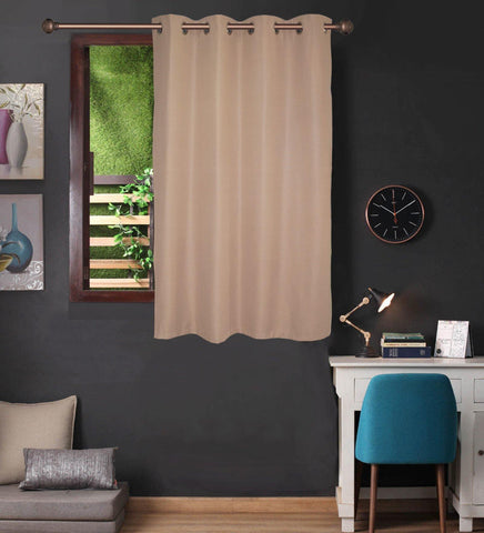 Lushomes Light Chocolate Water Repellent Frankfurt Matty Curtain with 8 metal eyelets & tie back for Window (Single pc pack) - Lushomes