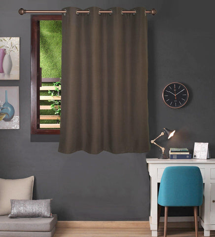 Lushomes Brown Water Repellent Frankfurt Matty Curtain with 8 metal eyelets & tie back for Window (Single pc pack) - Lushomes