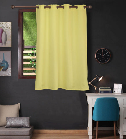 Lushomes Lemon Yellow Water Repellent Frankfurt Matty Curtain with 8 metal eyelets & tie back for Window (Single pc pack) - Lushomes