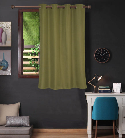 Lushomes Green Water Repellent Frankfurt Matty Curtain with 8 metal eyelets & tie back for Window (Single pc pack) - Lushomes