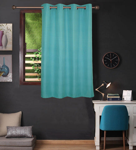 Lushomes Turquoise Water Repellent Frankfurt Matty Curtain with 8 metal eyelets & tie back for Window (Single pc pack) - Lushomes