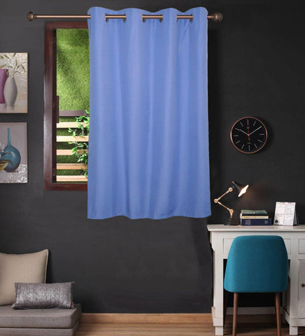 Lushomes Dusky Blue Water Repellent Frankfurt Matty Curtain with 8 metal eyelets & tie back for Window (Single pc pack) - Lushomes