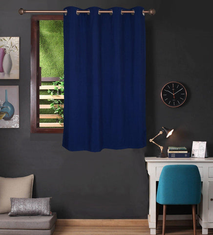 Lushomes Navy Blue Water Repellent Frankfurt Matty Curtain with 8 metal eyelets & tie back for Window (Single pc pack) - Lushomes