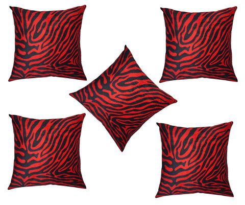 Lushomes Red Zebra Skin Printed Cushion Covers (Pack of 5) - Lushomes
