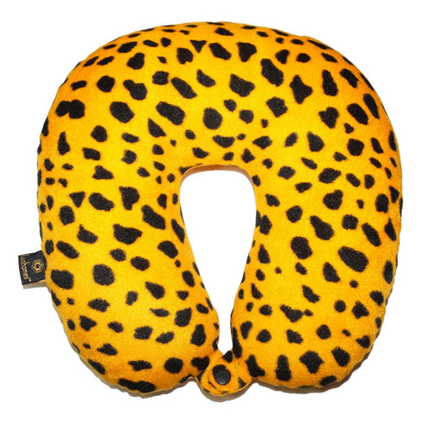 Lushomes Golden Yellow Leopard Skin Printed Neck Pillow - Lushomes