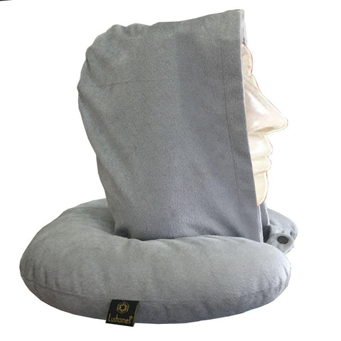 Lushomes Grey Neck Pillow with a hoodie for exceptional comfort (35 x 35 cms, Singe pc) - Lushomes