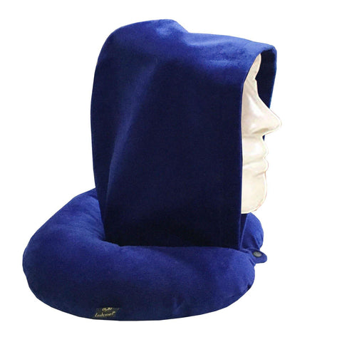 Lushomes Deep Blue Neck Pillow with a hoodie for exceptional comfort (30 x 30 cms, Singe pc) - Lushomes