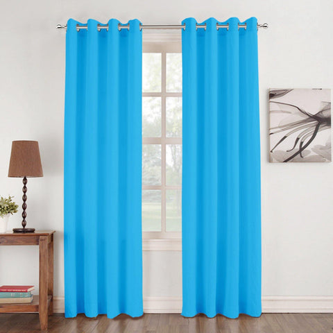 Lushomes Basic Plain Turquoise Microfiber Door Curtains with Smooth Finish (54 x 90 inch or 140 x 230 cms, 2 Pcs) - Lushomes