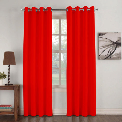 Lushomes Basic Plain Red Microfiber Door Curtains with Smooth Finish (54 x 90 inch or 140 x 230 cms, 2 Pcs) - Lushomes