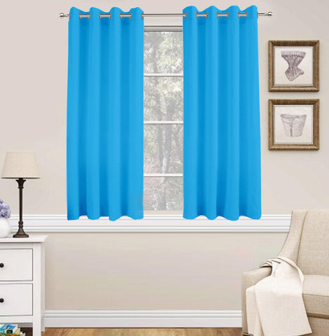 Lushomes Basic Plain Turquoise Microfiber Window Curtains with Smooth Finish (54 x 60 inch or 140 x 150 cms, 2 Pcs) - Lushomes