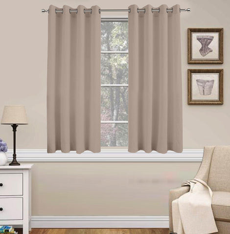 Lushomes Basic Plain Taupe Microfiber Window Curtains with Smooth Finish (54 x 60 inch or 140 x 150 cms, 2 Pcs) - Lushomes