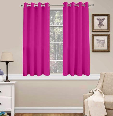 Lushomes Basic Plain Fuchsia Microfiber Window Curtains with Smooth Finish (54 x 60 inch or 140 x 150 cms, 2 Pcs) - Lushomes