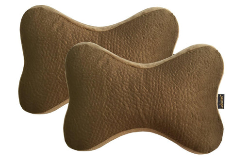Lushomes Beige Premium Memory foam Car Neck Bone Pillow with Elastic (Pack of 2, 30 x 16 x 5 cms) - Lushomes