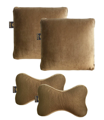 Lushomes Beige Memory foam cushions and Neck pillow Set with Supersoft Velvet cover (Pack of 4) - Lushomes