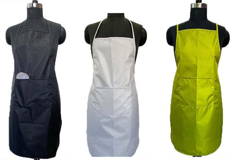 "Waterproof Light Kitchen Apron for Adults with Pocket while dishwashing, lab Work, Dog walking with Vinyl Quoting (Yellow, White, Black-Pack of 3, Size 22 x 32"") - Lushomes"