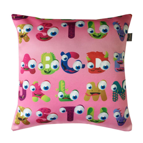 "Lushomes Kids Alphabets 2 Digital Printed Cushion Cover with top white invisible zipper (16 x 16"", Single Pc) - Lushomes"