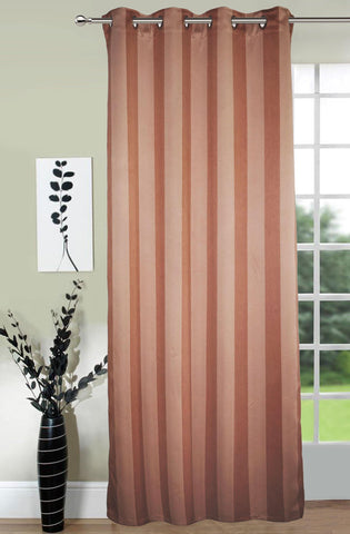 Lushomes Stripes Adorable Light Brown Curtain for Door (single pc) - Lushomes