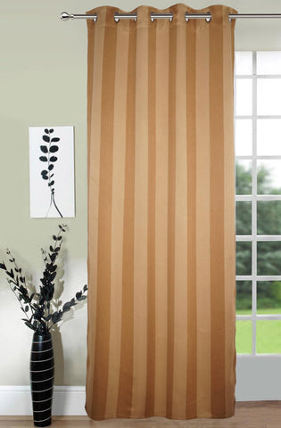 Lushomes Stripes Adorable Gold Curtain for Door (single pc) - Lushomes