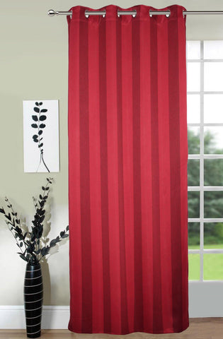 Lushomes Stripes Adorable Maroon Curtain for Door (single pc) - Lushomes