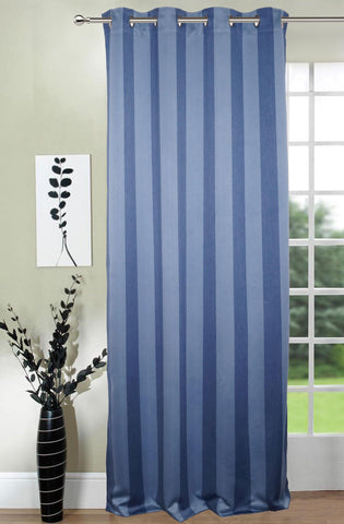Lushomes Stripes Adorable Blue Curtain for Door (single pc) - Lushomes