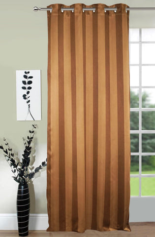Lushomes Stripes Adorable Dark Brown Curtain for Door (single pc) - Lushomes