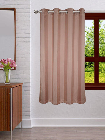 Lushomes Stripes Adorable Light Brown Curtain for Window (single pc) - Lushomes