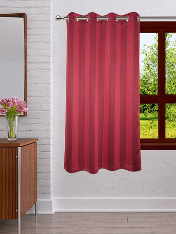 Lushomes Stripes Adorable Maroon Curtain for Window (single pc) - Lushomes