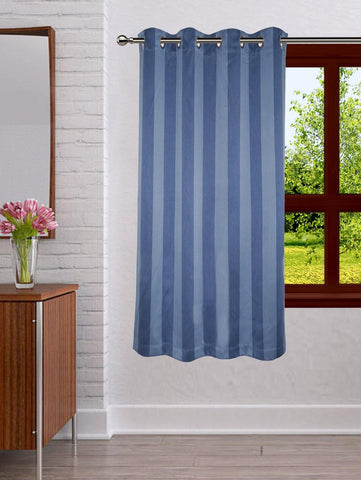 Lushomes Stripes Adorable Blue Curtain for Window (single pc) - Lushomes
