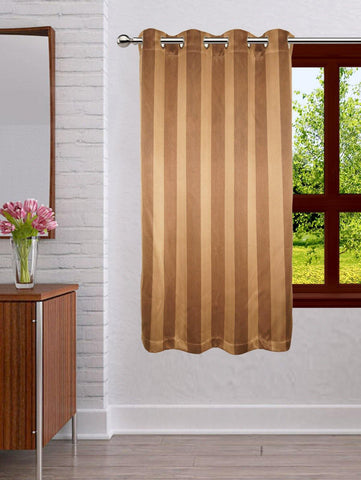 Lushomes Stripes Adorable Dark Brown Curtain for Window (single pc) - Lushomes