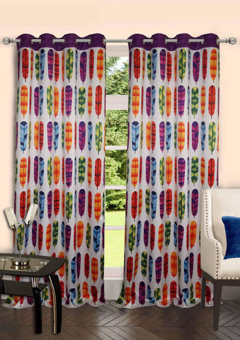 "Lushomes Digitally Printed Feather Polyster Blackout Curtains with 8 Metal Eyelets for Door, (48"" x 90"", Single pc) - Lushomes"