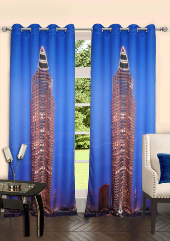 Lushomes Digitally Printed Frankfurt Polyster Curtains with 8 Metal Eyelets - Lushomes