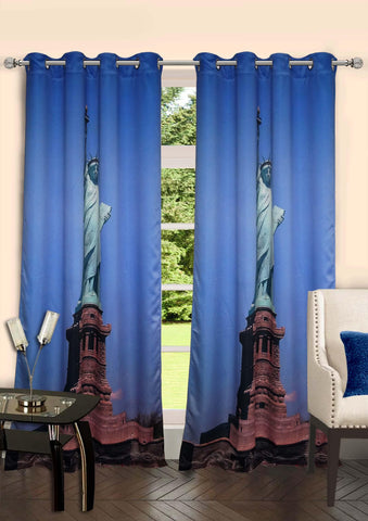 Lushomes Digitally Printed Statue of Liberty Polyster Curtains for Doors - Lushomes