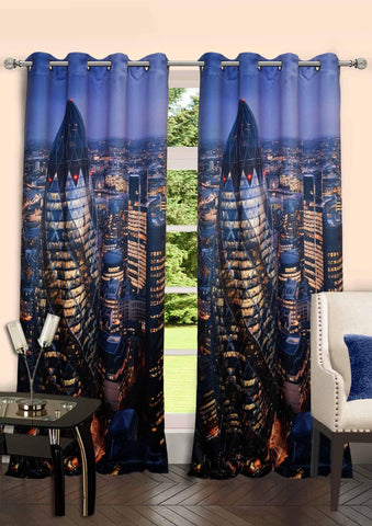 Lushomes Digitally Printed London Polyster Curtains with 8 Metal Eyelets - Lushomes