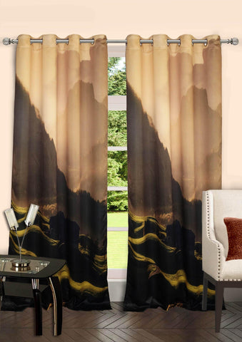 Lushomes Digitally Printed Mountain Polyster Curtains with 8 Metal Eyelets - Lushomes