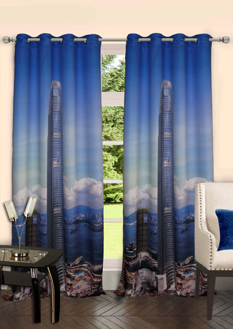 Lushomes Digitally Printed Skyscraper Polyster Curtains with 8 Metal Eyelets - Lushomes