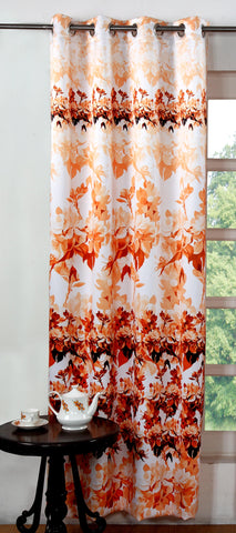 Lushomes Digitally Printed Orange Blossom Polyester Blackout Curtains for Doors (Single pc) - Lushomes