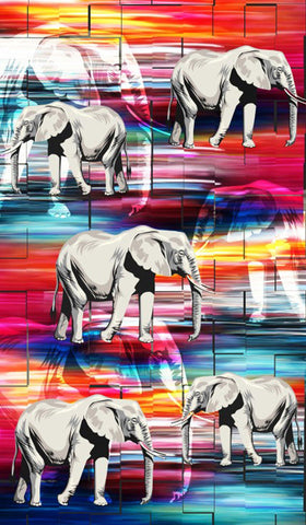 Lushomes Digitally Printed Elephant Polyester Blackout Curtains for Doors (Single pc) - Lushomes