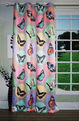 Lushomes Uber Premium Digital Kids Butterflies Door Curtains (Single Pc, Size 54 x 90 inch, 8 metal eyelets) - Lushomes