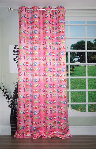 Lushomes Uber Premium Digital Kids Alphabets 2 Door Curtains (Single Pc, Size 54 x 90 inch, 8 metal eyelets) - Lushomes