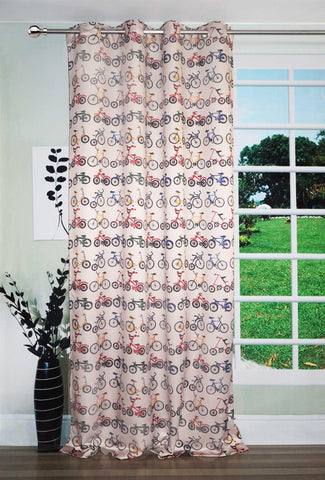 Lushomes Uber Digital Kid's Bicycles Printed Polyester Blend 54x84-inch Door Curtains with 8 Metal Eyelets (Multicolour) - Lushomes