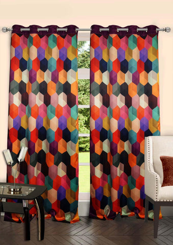 Lushomes Digitally Printed Galaxy Polyester Blackout Curtains with 6 Metal Eyelets for Doors - Lushomes