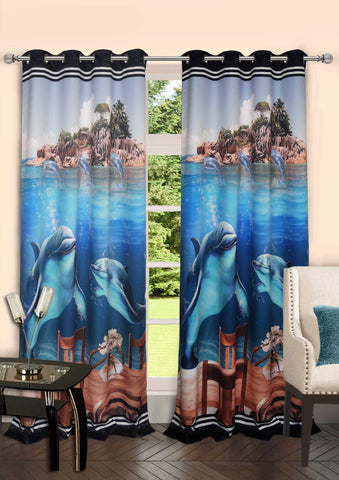 Lushomes Digitally Printed Marine Polyster Blackout Curtains with 6 Metal Eyelets for Doors - Lushomes