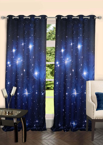 Lushomes Digitally Printed Stars Polyester Blackout Curtains with 6 Metal Eyelets for Doors - Lushomes