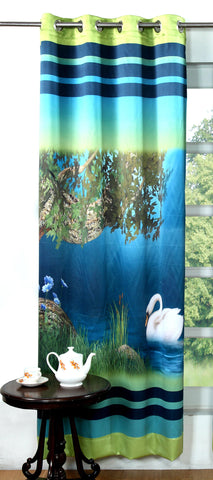 Lushomes Digitally Printed Dove Polyester Blackout Curtains for Long Doors (Single pc) - Lushomes