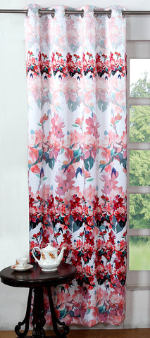 Lushomes Digitally Printed Red Blossom Polyester Blackout Curtains for Long Doors (Single pc) - Lushomes