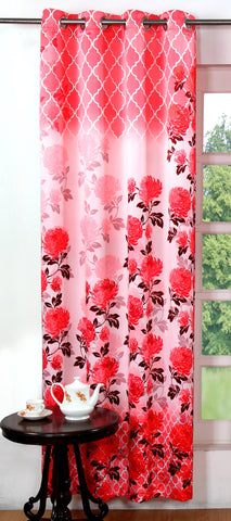 Lushomes Digitally Printed Pink Blossom Polyester Blackout Curtains for Long Doors (Single pc) - Lushomes