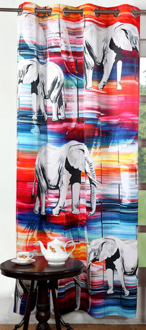 Lushomes Digitally Printed Elephant Polyester Blackout Curtains for Long Doors (Single pc) - Lushomes